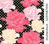 hand drawn linen peony flower ... | Shutterstock .eps vector #1059487034