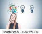 portrait of a pensive blonde... | Shutterstock . vector #1059491843