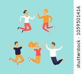 happy people are jumping. flat... | Shutterstock .eps vector #1059501416
