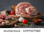 wooden board with raw pork leg... | Shutterstock . vector #1059507080