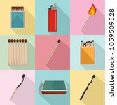 safety match ignite burn icons... | Shutterstock .eps vector #1059509528