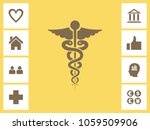 caduceus icon with bonus icons. ... | Shutterstock .eps vector #1059509906