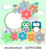 background with owl  flowers... | Shutterstock . vector #105951086