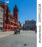 Small photo of BASEL, SWITZERLAND - JUNE 04 2017: Swiss city Basel in the summer. Architecture of 14th century town hall, the Rathaus. The seat of the government of the Canton of Basel-City and at the same time.