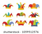 jester fools hat icons set.... | Shutterstock .eps vector #1059512576