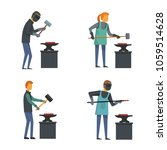 anvil blacksmith forge icons... | Shutterstock .eps vector #1059514628