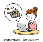women  pc and money   Shutterstock .eps vector #1059521294