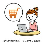 women  internet  shopping | Shutterstock .eps vector #1059521306