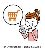 woman  smartphone  internet ... | Shutterstock .eps vector #1059521366