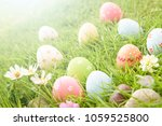 happy easter   closeup colorful ... | Shutterstock . vector #1059525800