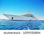 private white luxury superyacht ...   Shutterstock . vector #1059530804