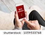 old person dialing emergency... | Shutterstock . vector #1059533768
