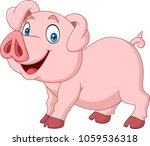 cartoon happy pig cartoon... | Shutterstock .eps vector #1059536318