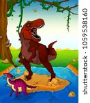 Tyrannosaurus On The Backgroun...
