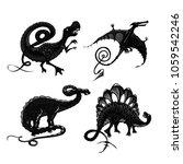 dinosaurs black silhouette... | Shutterstock .eps vector #1059542246