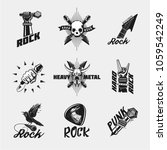 rock music icon set. vintage... | Shutterstock .eps vector #1059542249