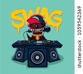 hip hop poster with dog. rap... | Shutterstock .eps vector #1059542369