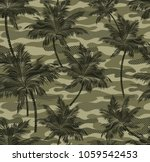camouflage tropical palm trees... | Shutterstock .eps vector #1059542453