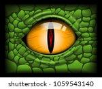 Scary Eye Of A Reptile. Vector...