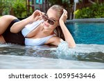 attractive sexy lady posing at... | Shutterstock . vector #1059543446