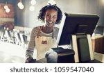 young african waitress wearing... | Shutterstock . vector #1059547040