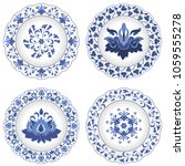 set of decorative porcelain... | Shutterstock .eps vector #1059555278