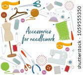 set of tools for needlework and ...   Shutterstock . vector #1059555350