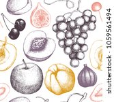 vintage fruits and berries... | Shutterstock .eps vector #1059561494