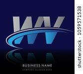 initial letter wv logotype...   Shutterstock .eps vector #1059571538