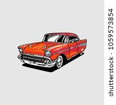 vintage classic car vector | Shutterstock .eps vector #1059573854