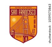 golden gate patch logo | Shutterstock .eps vector #1059573863