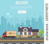 shopping and delivery concept...   Shutterstock .eps vector #1059574073