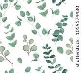 watercolor baby blue eucalyptus ... | Shutterstock .eps vector #1059574430