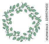 watercolor baby blue eucalyptus ... | Shutterstock .eps vector #1059574433