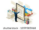textbook to publish online... | Shutterstock .eps vector #1059585068