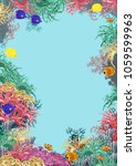 sea underwater world with coral ... | Shutterstock .eps vector #1059599963