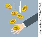 bitcoin falling in hand ... | Shutterstock .eps vector #1059601040