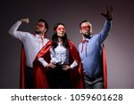 super businesspeople in masks... | Shutterstock . vector #1059601628