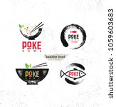 poke bowl hawaiian cuisine... | Shutterstock .eps vector #1059603683