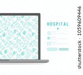 hospital concept with thin line ... | Shutterstock .eps vector #1059609446