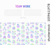 teamwork concept with thin line ... | Shutterstock .eps vector #1059611978