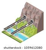 isometric bridge and mountain ... | Shutterstock .eps vector #1059612080