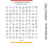 shopping and delivery icons set.... | Shutterstock .eps vector #1059617783