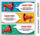 announcement megaphone banners. ... | Shutterstock .eps vector #1059622820