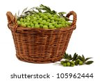 Basket With Olives Isolated On...