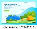 vector bright camping banner...   Shutterstock .eps vector #1059629816