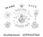 set of hand drawn traditional... | Shutterstock .eps vector #1059632564