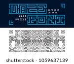 vector of maze puzzle alphabet... | Shutterstock .eps vector #1059637139