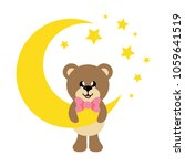 cartoon cute bear with tie and... | Shutterstock .eps vector #1059641519