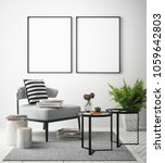 mock up poster frame in... | Shutterstock . vector #1059642803